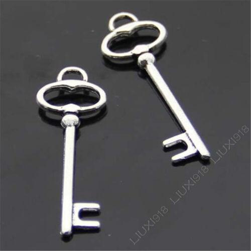 15x Retro Tibetan Silver Key Pendant Charms Beads Accessories Wholesale B424P