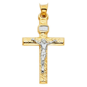 14K-Solid-Yellow-White-Gold-Crucifix-Cross-Religious-Pendant-Men-Women