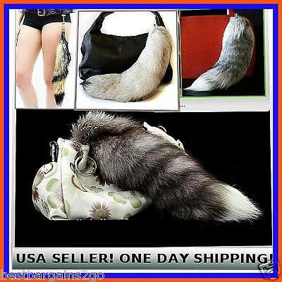 FOX TAIL 100% REAL GENUINE - Keychain  Fur Tassel Bag Purse Tag Charm USA SELLER