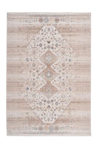 Teppich Ethno Azteken Design Fransen Teppiche Maya Muster Creme Beige 120x170cm