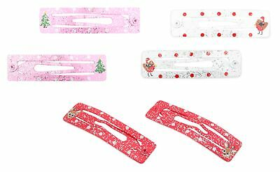 Responsabile Zest Natale 6 Fermagli Capelli Sleepie Diapositive Albero Robin & Rudolph Rosa Bianco & Rosso-mostra Il Titolo Originale
