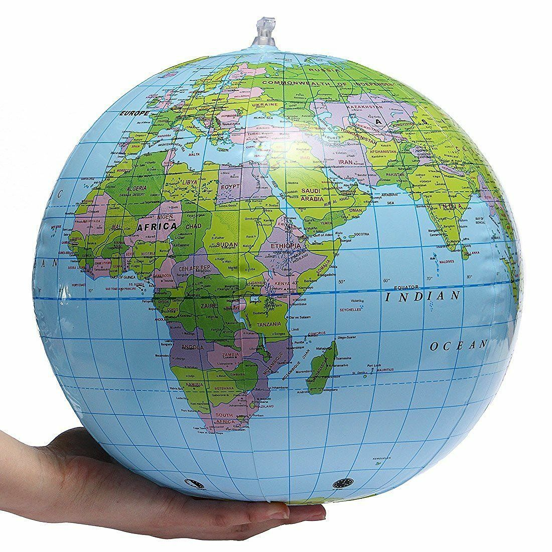 INFLATABLE 40CM GLOBE WORLD MAP EARTH ATLAS BLOW UP BALL TOY EDUCATIONAL BULK £