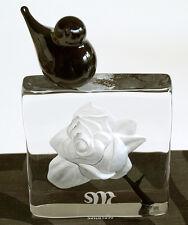 """Mats Jonasson Art Glas """"Blackbird"""" Rose, weiß mit Vogel, schwarz, 155 mm hoch"""