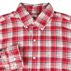 J-McLaughlin-Trim-Fit-Red-White-Plaid-Long-Sleeve-Cotton-Shirt-Mens-Medium-M
