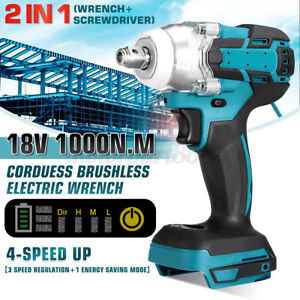 18V Electric Cordless Impact Wrench Screwdriver 1/2'' Brushless Driver 800Nm