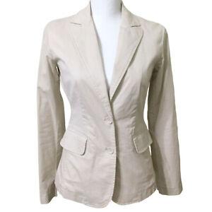 Cotton-Jacket-Blazer-Size-XS-Women-039-s-NY-amp-Co-Beige-Khaki-Fall-Spring