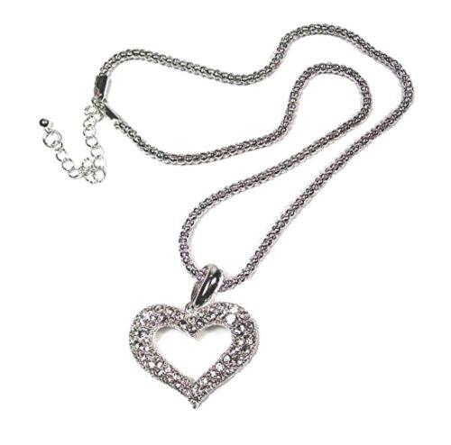 Amor Corazón Collar De Plata Cristal Colgante Cadena Larga Mujer Vestido De Regalo Joyas