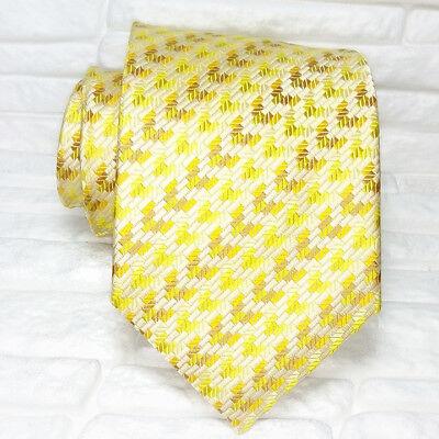 Candido Cravatta Uomo Oro Giallo Marrone Geometrica Nuova 100% Seta Made In Italy Ampia Fornitura E Consegna Rapida