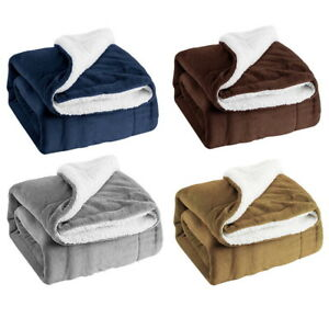 Fleece-Blanket-Throw-Reversible-Sherpa-Flannel-Soft-Plush-Bedding-Microfiber
