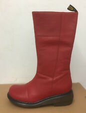 DR. MARTENS CHARLA BRIGHT RED  BROADWAY  LEATHER     BOOTS SIZE UK 9