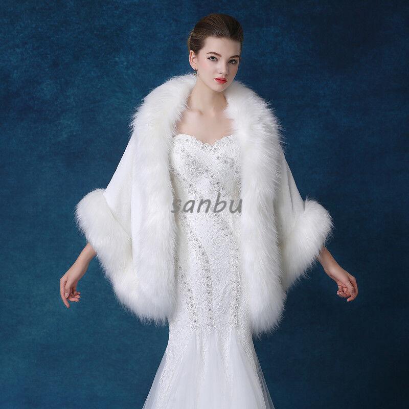 Women Faux Fox Fur Poncho Clothing Cape Cloak Outwear Coat Overcoat Luxury Warm