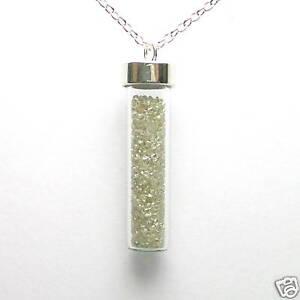 5 Carats Natural White Rough Diamonds Silver Necklace