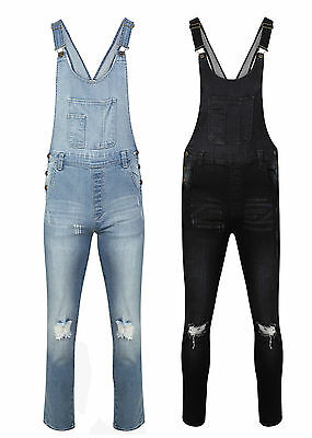 Ladies Denim Gina Dungarees Long Slim Fit Ripped Stretch Wash Jeans Jumpsuit