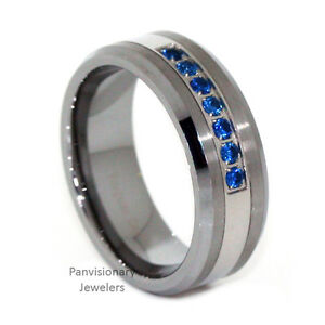 thin s loading blue stone rings image line band mens ring is cz itm tungsten carbide wedding