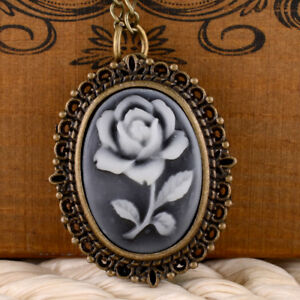 Vintage-Rose-Victorian-Bronze-Pocket-Watch-Quartz-Necklace-Pendant-Chain-Antique