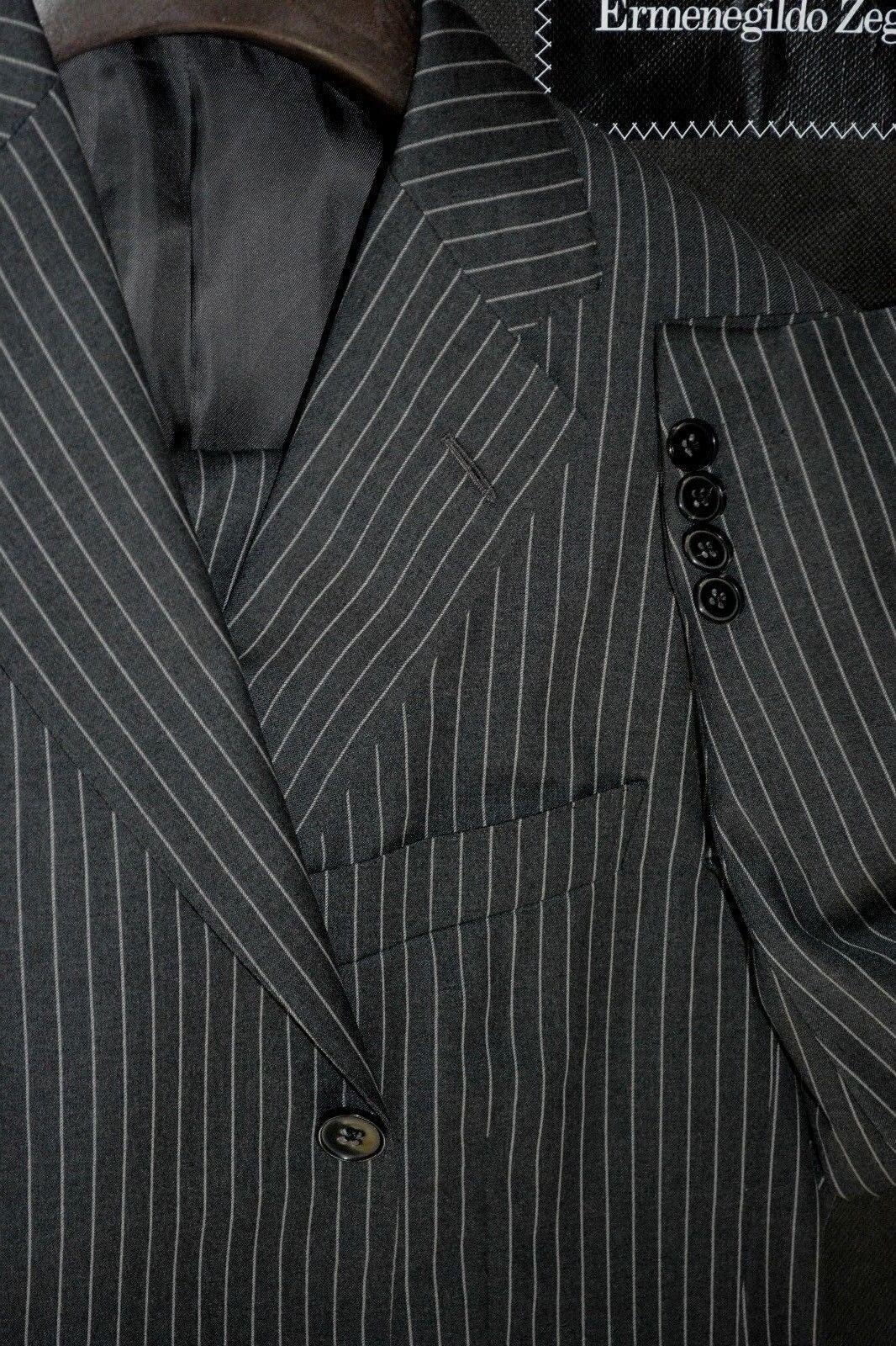 3495 Ermenegildo Zegna grau Bold Stripe Wool Suit 42S 36W