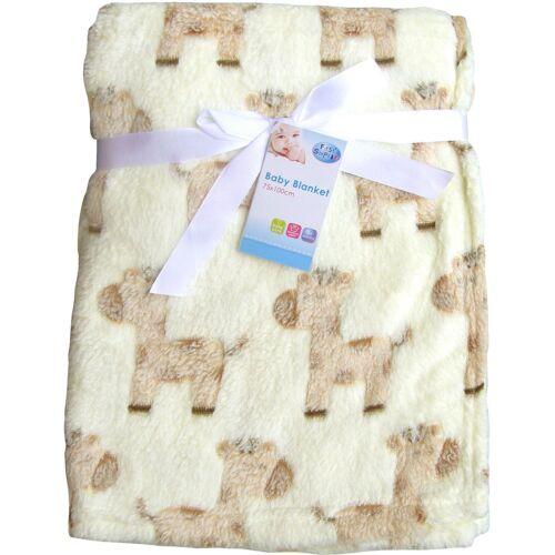 Cream Ponies Super Soft /& Fluffy Large Patterned Baby Blanket