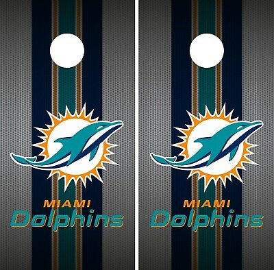 Miami Dolphins Cornhole Wrap NFL Team Flag Skin Game Board Set Vinyl Art CO143