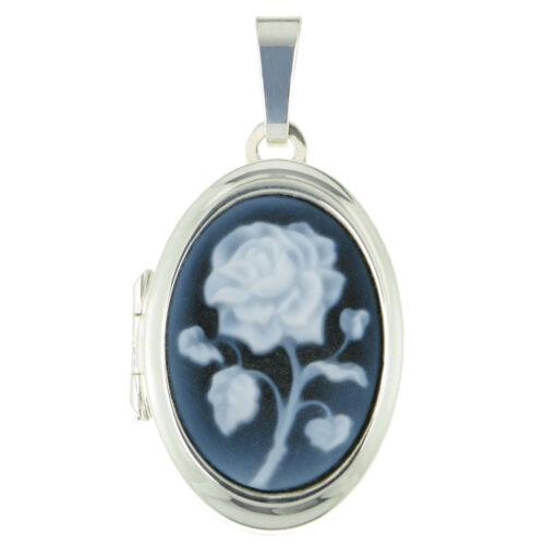 Medaillon Anhänger Rose mit Gravur auch Sternzeichen und Kette echt 925 Silber