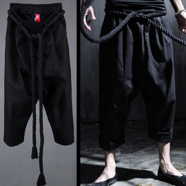 ByTheR Men's Gothic Black Linen Rope Crop Baggy Unique Modern Pants P000BRLW CA