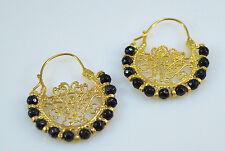OttomanGems semi precious gemstone earrings gold hoop Jade Filigree handmade