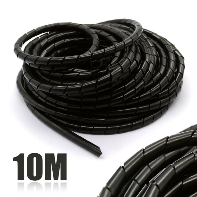 10M 8mm Spiral Hose Cable Wire Wrap Tube Part PE Manage Cord Polyethylene Black
