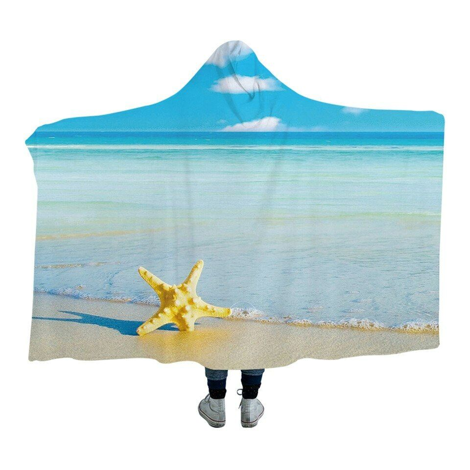 3D Starfish Ocean bluee Beach Kids Adults Sherpa Fleece Fur Hooded Blanket Throw