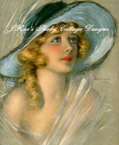 Gorgeous Victorian Lady Portrait Fabric Block 5x7