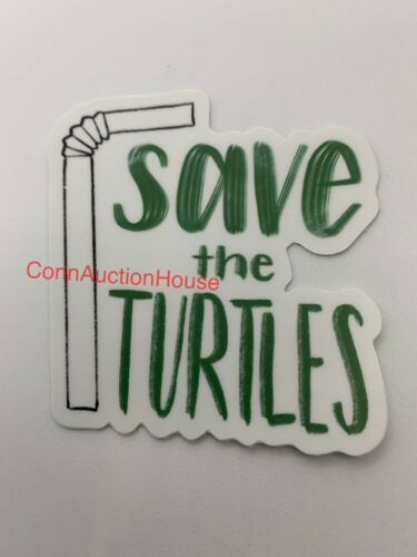 Skip A Straw Save The Turtles Sticker ~ Water Bottle ~ Laptop ~ VSCO Girl Decal