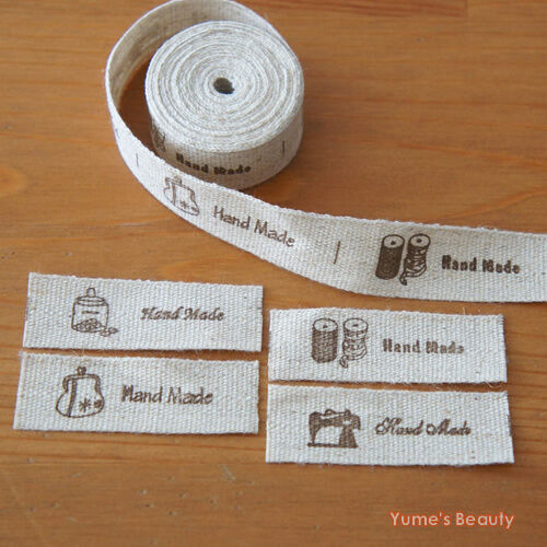 "1 / 5 metres: Cut & Sew Labels Linen Cotton ""Hand Made"" & Home Style Motif Craft"