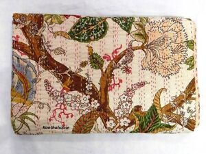 Indian-Hand-Quilted-Floral-Twin-Ralli-kantha-quilt-Bedspread-Blanket-Gudri