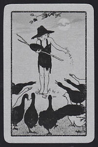 1-Single-VINTAGE-Swap-Playing-Card-GIRL-FEEDING-GEESE-BIRDS-Silver-WITH-Border