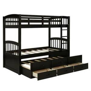 Twin Over Twin Wooden Bunk Bed With Trundle Bed Twin Bed W 3 Drawer Bedding Sets 492421330086 Ebay