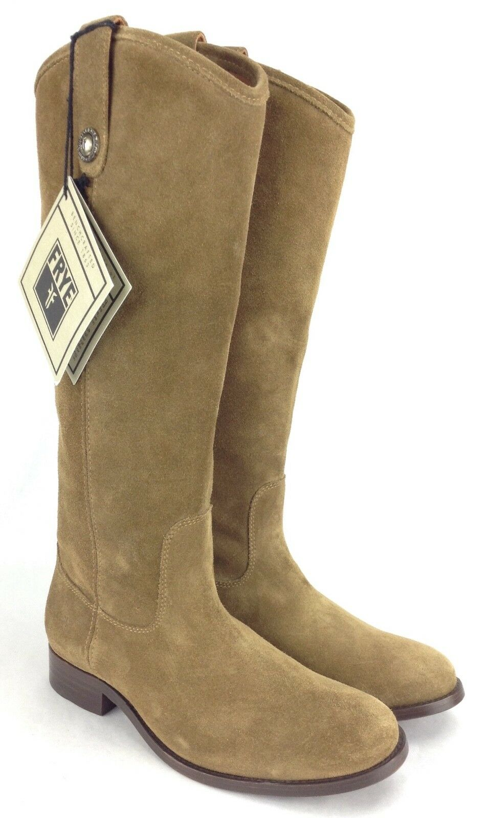 Frye Melissa Button Cashew Brown Suede High Riding Boots Women's Size 6.5