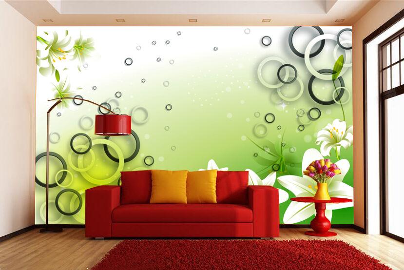 3D Fresh Grün Circle Wand Papier Wand Drucken Decal Wand Deco Innen Wand Murals