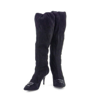 Louis-Vuitton-boots-ribbon-suede-Auth-used-T10015