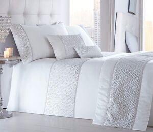 Image Is Loading Shimmer White Quilt Duvet Cover Sets Bedding