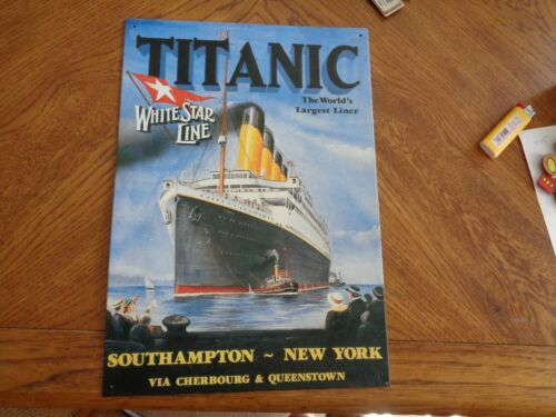 The Titanic Metal Tin Sign RMS TITANIC White Star Line South Hampton,NY
