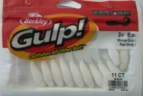 "3/"" Minnow Grub - Blanc 11//Ct Paquet Berkley Gulp"