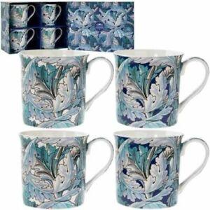 Leonardo-Acanthe-Tasses-Set-de-4-Sauvage-Feuilles-Bleu-amp-Turquoise-amp-Blanc