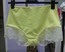 Yummie Tummie Shape-Wear Ribbed Tricot & Lace Lemon Boy Shorts Control Pant SZ S