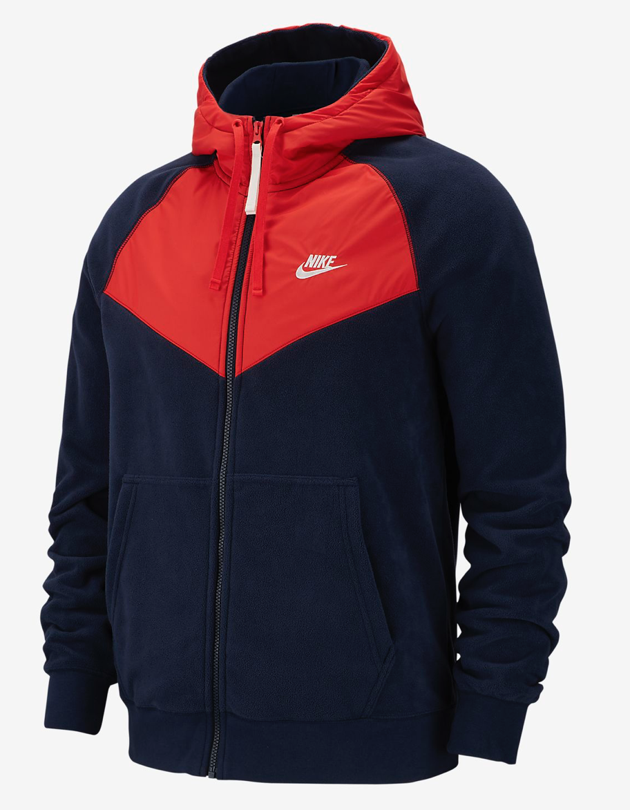 entrenador Armario Contribuir  Medium Mens Nike NSW Full Zip Polar Fleece Navy Habanero Hoodie 929114 451  for sale online | eBay