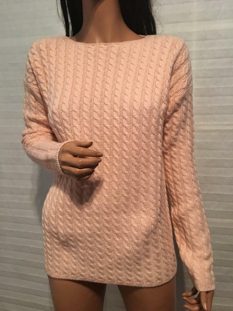 NTW Auth Lgold PIANA 100% Baby Cashmere Pink CABLE Knit Sweater sz 44