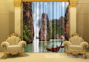 3D barco fluvial 0294 Cortinas de impresión de cortina de foto Blockout Tela Cortinas Ventana Reino Unido