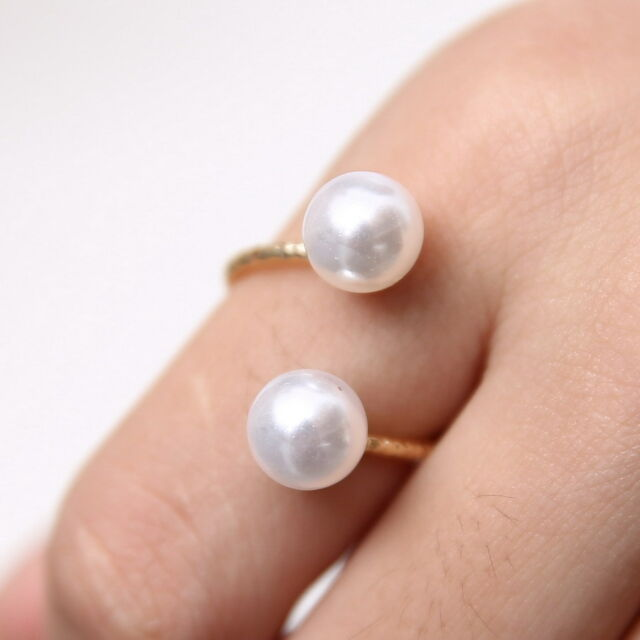 Hot Ring Charm Elegant Faux Rhinestone Elegant Golden Double Pearl Finger Rings
