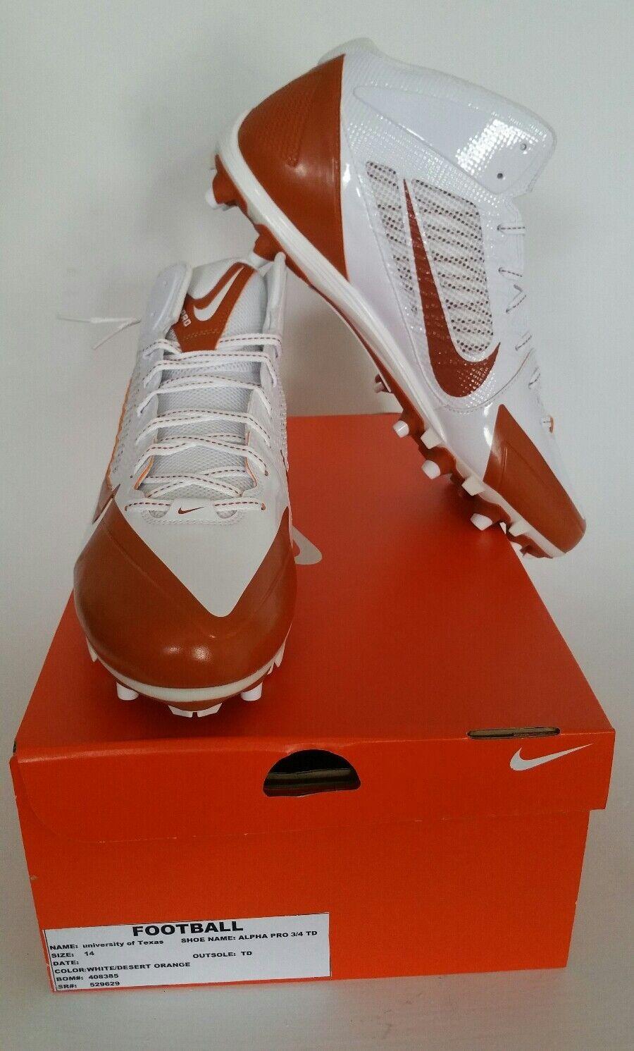 Casual wild Nike Alpha Pro 3/4 TD Men's Sz 14 Football Cleats White/Orange Texas NIB NEW