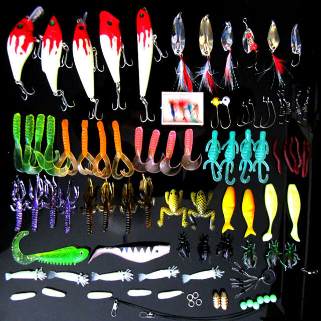 Lot 100pcs Fishing Lures Spinner Bait Spoon Crankbait Tackle Bass Hooks with Box