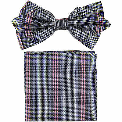 New in box formal Men's Diamond Shape Pre-tied Bow Tie & Hankie pink grey