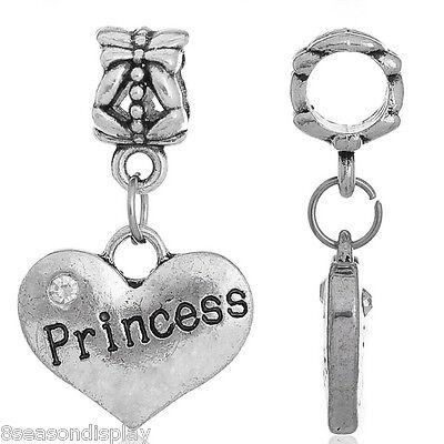 "1PC European Charm Dangle Beads Silver Tone Heart-Shaped ""Princess"" 27x16mm"