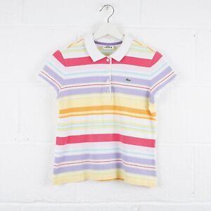 Vintage-LACOSTE-Striped-Polo-Shirt-Size-Womens-Medium-R6239